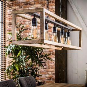 Vico Frame - hanglamp 5L - 125 x 25 x 150 cm - mango hout