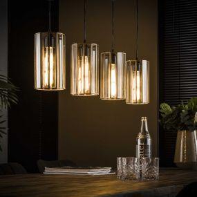 Vico Art Deco cylinder - hanglamp - 100 x 13 x 150 cm - antiek brons