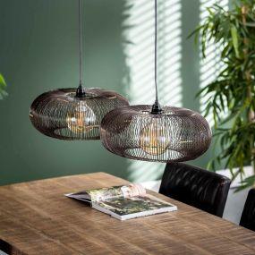 Vico Disk Wire - hanglamp - 102 x 43 x 150 cm - zwart nikkel