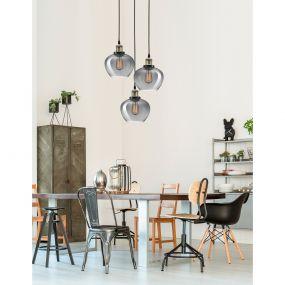 Nova Luce Cedro - hanglamp - Ø 50 x 160 cm - gerookt glas