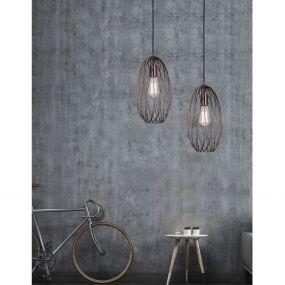 Nova Luce Eriberto - hanglamp - Ø 18 x 150 cm - roest koper