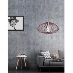 Nova Luce Eriberto - hanglamp - Ø 34 x 150 cm - roest koper