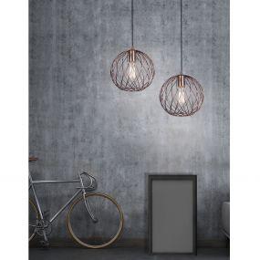 Nova Luce Eriberto - hanglamp - Ø 25 x 150 cm - roest koper