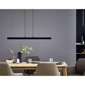 Schöner Wohnen Stripe - hanglamp met 3 stappen dimmer via schakelaar - 110-140 x 2,5 x 140 xm - 24W LED incl. - zwart