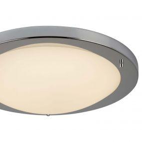 Searchlight LED Flush - plafondlamp badkamer - Ø 41 x 9 cm - 20W LED incl. - IP44 - wit en chroom