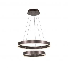 Nova Luce Nador - hanglamp - Ø 60 x 120 cm - 75W dimbare LED incl. - koffie bruin