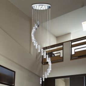 Searchlight Sculptured Ice - hanglamp - Ø 48 x 180 cm - 20 x 7W halogeen incl. - chroom