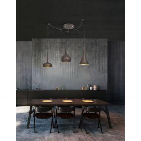 Nova Luce Nuorese - hanglamp - Ø 37 x 150 cm - donker bruin