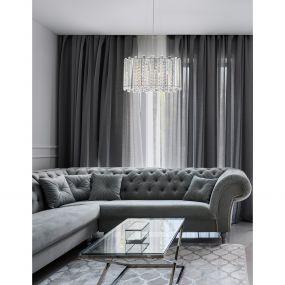 Nova Luce Element - hanglamp - Ø 41 x 146 cm - chroom en transparant