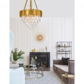 Nova Luce Grane - luster - Ø 73 x 120 cm - goud en transparant