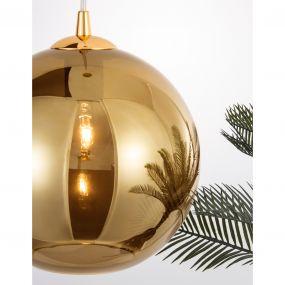 Nova Luce Nazio - hanglamp - Ø 35 x 120 cm - goud en chroom