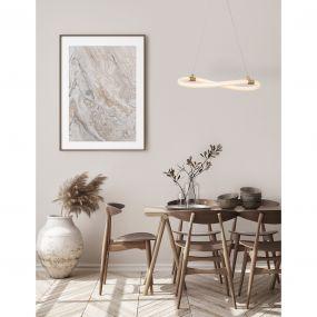 Nova Luce Cerelia - hanglamp - Ø 40 x 120 cm - 15W LED incl. - messing goud en wit