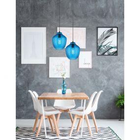 Nova Luce Vetro - hanglamp - Ø 23 x 130 cm - blauw