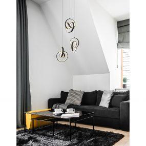Nova Luce Rings - hanglamp - Ø 34 x 120 cm - 43W dimbare LED incl. - zand zwart