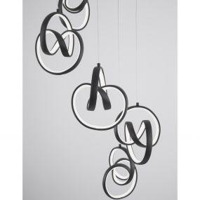 Nova Luce Rings - hanglamp - Ø 40 x 120 cm - 60W dimbare LED incl. - zand zwart