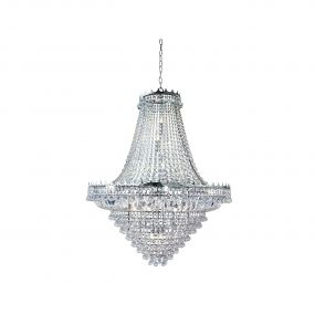 Searchlight Versailles - luster - Ø 102 x 350 cm - chroom en transparant