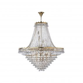 Searchlight Versailles - luster - Ø 102 x 350 cm - goud en transparant