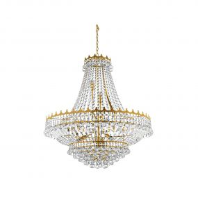 Searchlight Versailles - luster - Ø 80 x 250 cm - goud en transparant