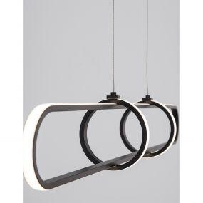 Nova Luce Arte - hanglamp - 90 x 13 x 120 cm - 31,2W dimbare LED incl. - mat zwart
