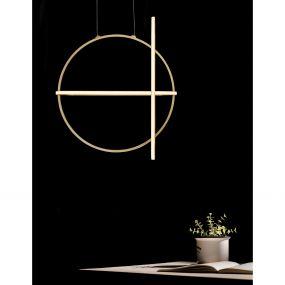 Nova Luce Arte - hanglamp - 52 x 16 x 120 cm - 48,6W dimbare LED incl. - goud