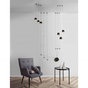 Nova Luce Amadeo - hanglamp - 400 cm - 36W LED incl. - zandzwart