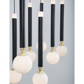 Nova Luce Cayo - hanglamp - 72 x 20 x 120 cm - 10 x 5W LED incl. - zwart