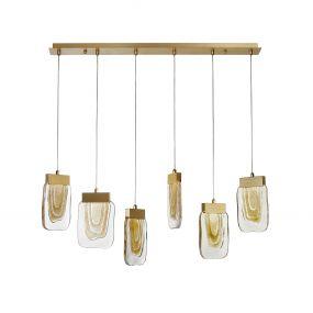 Nova Luce Grani - hanglamp - 98 x 16 x 180 cm - 6 x 4W dimbare LED incl. - geborsteld goud