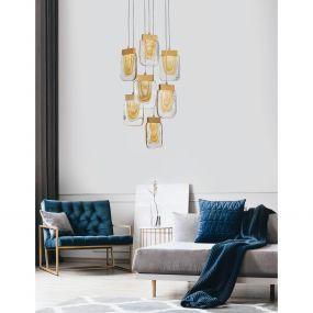 Nova Luce Grani - hanglamp - Ø 48 x 180 cm - 7 x 4W dimbare LED incl. - geborsteld goud