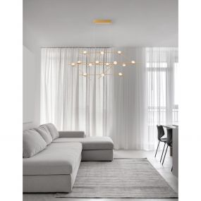 Nova Luce Atomo - hanglamp met afstandsbediening - 110 x 34,5 x 34,5 cm - 14 x 2,4W dimbare LED incl. - goud