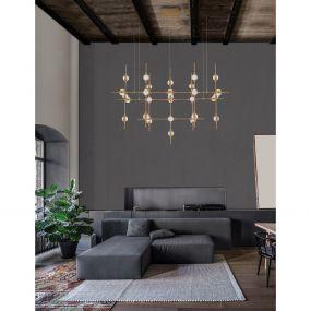 Nova Luce Atomo - hanglamp met afstandsbediening - 106 x 58,5 x 150 cm - 30 x 2,4W dimbare LED incl. - goud