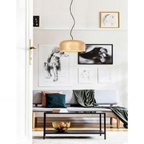 Nova Luce Perleto - hanglamp - Ø 35 x 133 cm - goud en mat wit