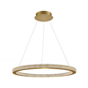Nova Luce Fiore - hanglamp -Ø 80 x 120 cm - 80W dimbare LED incl. - antiek goud messing