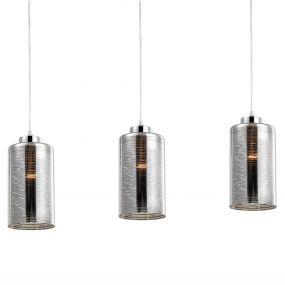Nova Luce Blake - hanglamp - 47 x 12 x 120 cm - chroom en gerookt glas