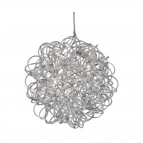 Searchlight Scribble - hanglamp - Ø 41 x 138 cm - 6 x 14W halogeen incl. - zilver
