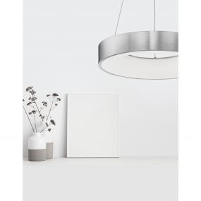 Nova Luce Rando Thin - hanglamp - Ø 38 x 120 cm - 30W dimbare LED incl. - geborsteld zilver