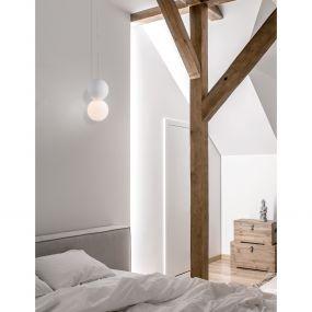 Nova Luce Zero - hanglamp - Ø 10 x 120 cm - wit