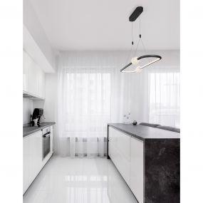 Nova Luce Celia - hanglamp met afstandsbediening - 100 x 28 x 120 cm - 44,2W dimbare LED incl. - zwart en opaal