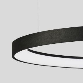 Nova Luce Pertino - hanglamp - Ø 58 x 150 cm - 48W dimbare LED incl. - zand zwart