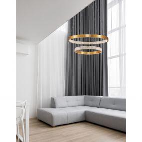 Nova Luce Preston - hanglamp - Ø 60 x 120 cm - 60W dimbare LED incl. - antiek goud messing