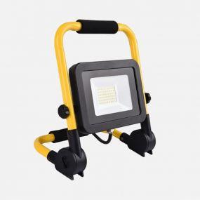 Elmark Work - verstraler met voet en stekker - 16 cm - 50W LED incl. - IP65 - geel