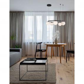 Nova Luce Joline - hanglamp - Ø 50 x 155 cm - 40W LED incl. - zand zwart en opaal wit