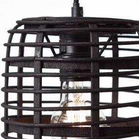 Brilliant Crosstown - hanglamp - Ø 16 x 127 cm - donker bruin en zwart
