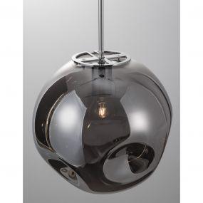 Nova Luce Mayan - hanglamp - Ø 30 x 120 cm - chroom en rookgrijs