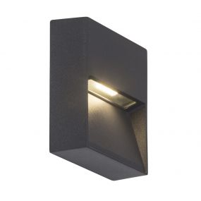 AEG Front Vierkant - buiten wandlamp - 10 x 3 x 10 cm - 3W LED incl. - IP54 - antraciet