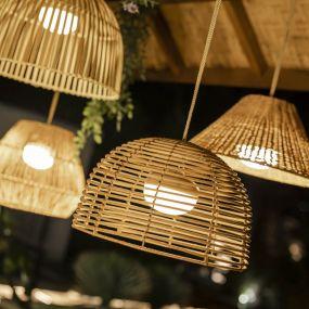 New Garden Bossa - buiten hanglamp met oplaadbare lichtbron en afstandsbediening - 9W LED incl. - Ø 35 x 22 x 300 cm - IP54 - rotan