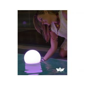 New Garden Buly 40 - oplaadbare tafellamp op zonne-energie - Ø 40 x 26,5 x 35 cm - 1W RGB LED incl. - IP68 - wit