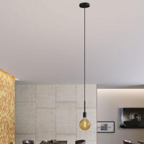 Creative Cables hanglamp - metalen design verlengstang 15 cm - 1L - 308,7 cm - zwart
