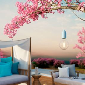 Creative Cables Eiva Pastel - buitenhanglamp met siliconen plafondbevestiging - Ø 12,5 x 514,5 cm - IP65 - zachtblauw