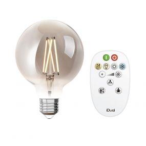 iDual LED-lamp met afstandsbediening - Ø 9,5 x 14 cm - E27 - 9W dimbaar - 2200K tot 6500K - gerookt
