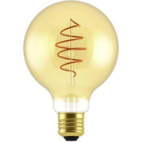 Nordlux LED filament lamp - Ø 9,5 x 14 cm - E27 - 5W dimbaar - 2000K - goud